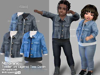 Toddler layered Tees Denim for The Sims 4