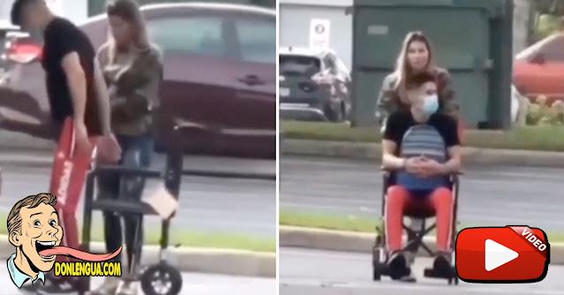 Chyno asistió a su rehabilitación en silla de ruedas junto a su esposa