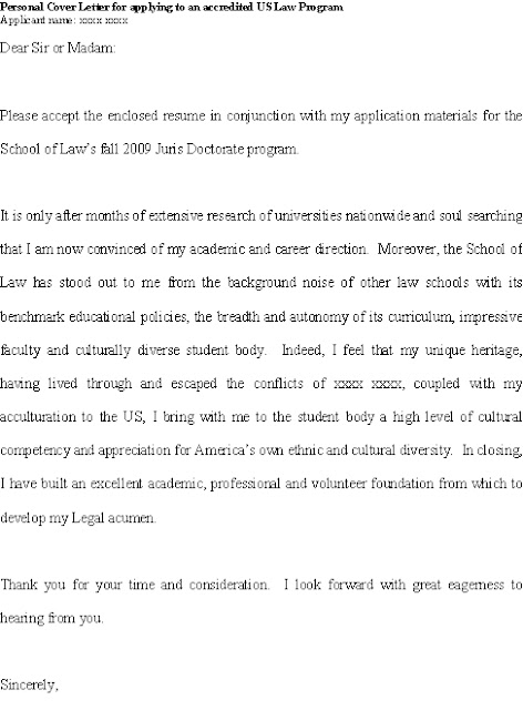Good cover letter for JD (juris doctorate) applicant with diverse - personal training resume