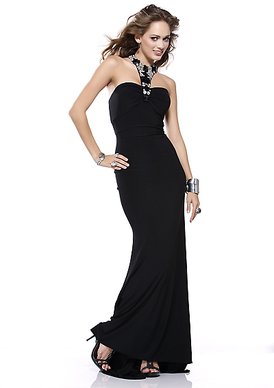 Elegante schwarze lange Kleider