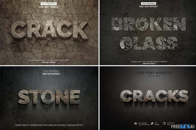 3D Crack Stone PSD Broken Glass Text Effects