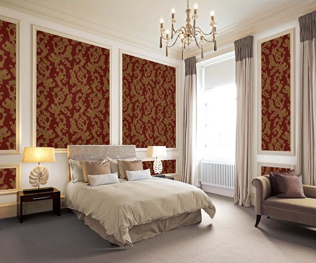 Giấy dán tường phòng ngủ màu đỏ cực kì độc đáo và thu hút người nhìn