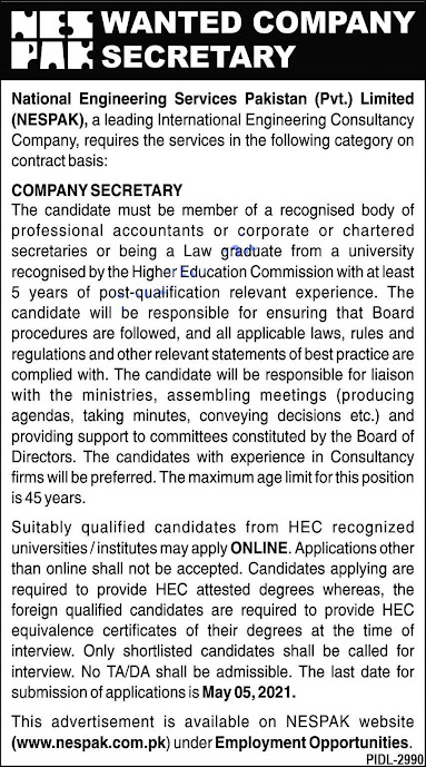Latest New Jobs in National Engineering Services Pakistan NESPAK 2021 -Apply online