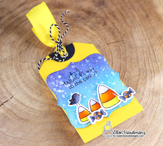 Halloween Tag by Ellen Haxelmans | Fancy Edges Tag Die Set and Candy Corn Stamp Set by Newton's Nook Designs #newtonsnook #handmade