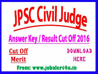 JPSC Jharkhand Civil Judge Result / Cut Off Merit List 2016, Download