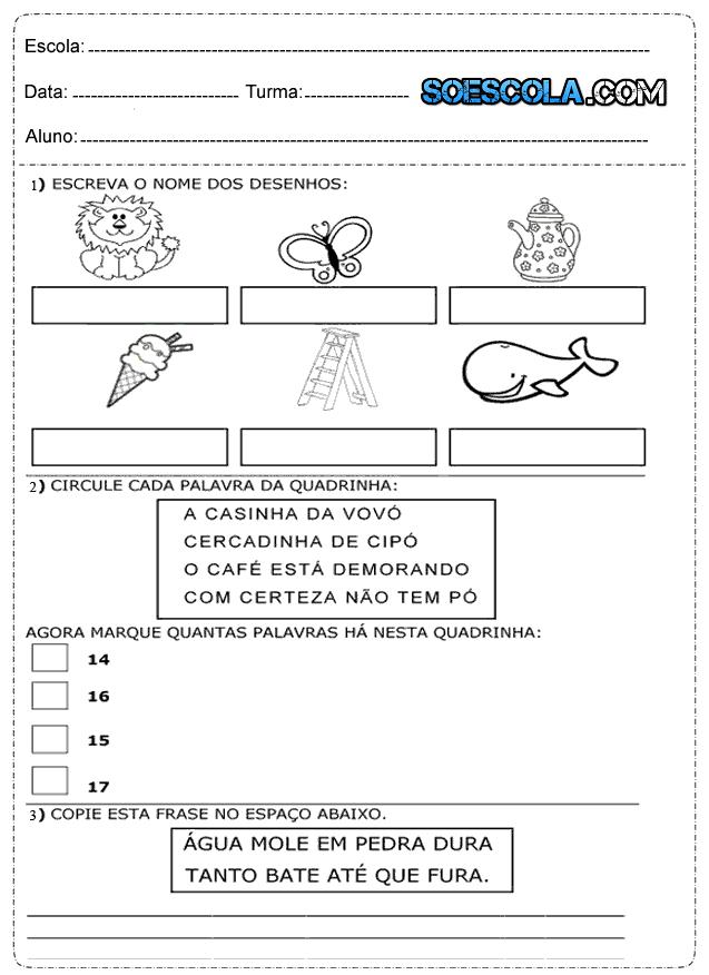 Atividades De Português Para 1º Ano Só Escola