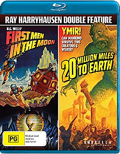 Cover art for Umbrella Entertainment's Blu-ray Double Feature of FIRST MEN IN THE MOON & 20 MILLION MILES TO EARTH!
