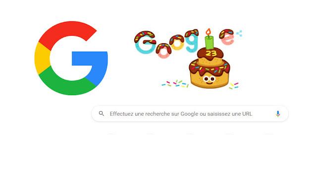 جوجل تحتفل بمرور 23 عاماً على تأسيسها - Google fête son 23e anniversaire