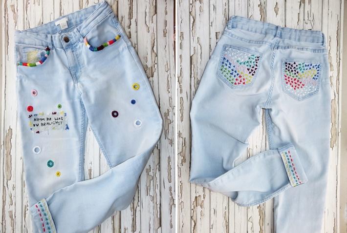 Bestickte Jeans von vorne und von hinten
