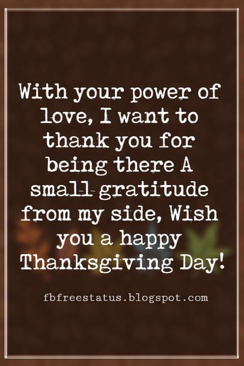 Happy Thanksgiving Messages, With your power of love, I want to thank you for being there A small gratitude from my side, Wish you a happy Thanksgiving Day!