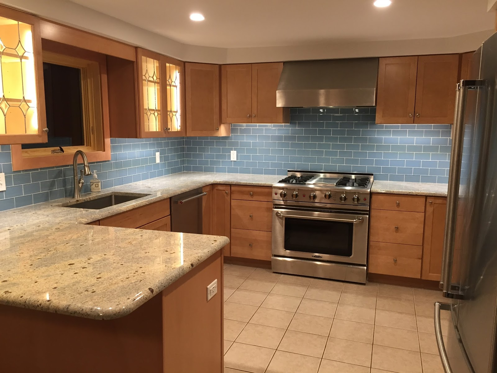 QuarDecor: Before and After Kitchen Makeover: Blue Glass ...