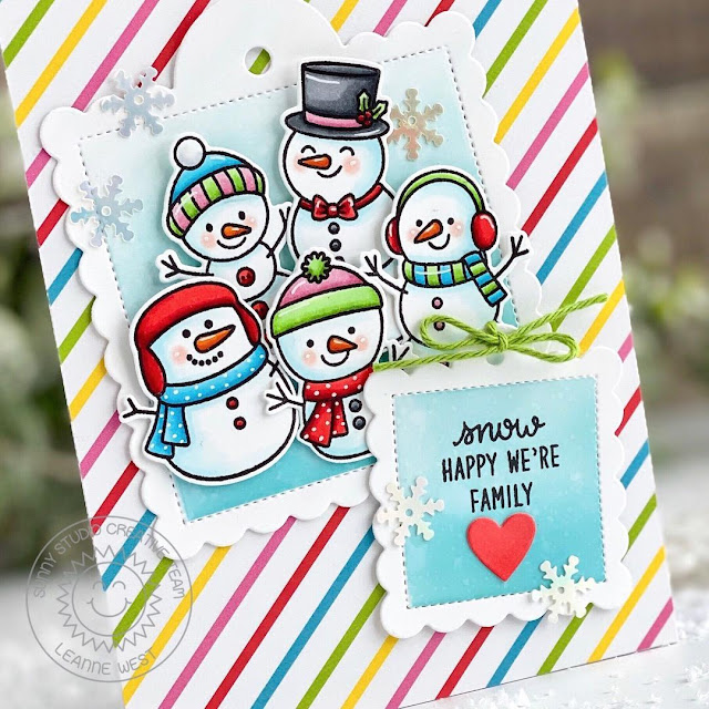 Sunny Studio Stamps: Feeling Frosty Scalloped Tag Dies Winter Themed Friendship Card by Leanne West