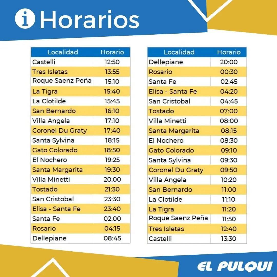 Horarios El Pulqui Chaco Santa Fe