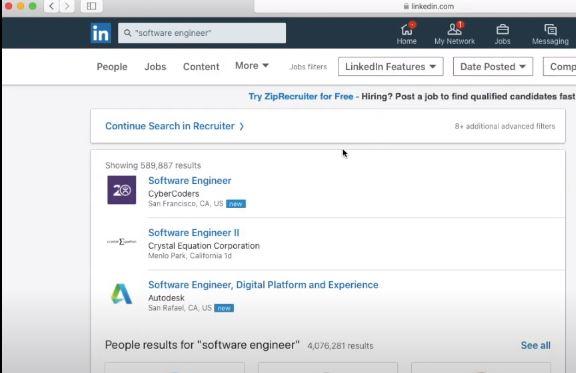 LinkedIn job search tool