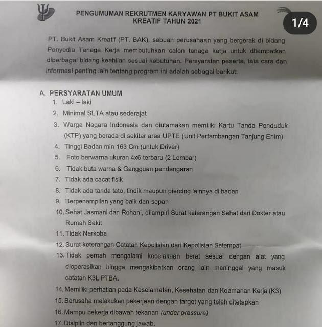 LOKER 10 POSISI PT BUKIT ASAM KREATIF MARET 2021