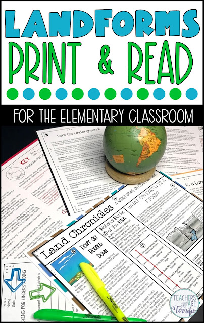 "Landform Print & Read! This resource includes 4 passages written in two reading levels. Each passage has a comprehension page of questions, matching, multiple choice, or drawing a text feature and filling it in. It also includes a ""newspaper"" with 3-4 articles about landforms. The newspaper has three graphic organizers you can use. Super and oh, so easy- just print and read. #elementary #landform"