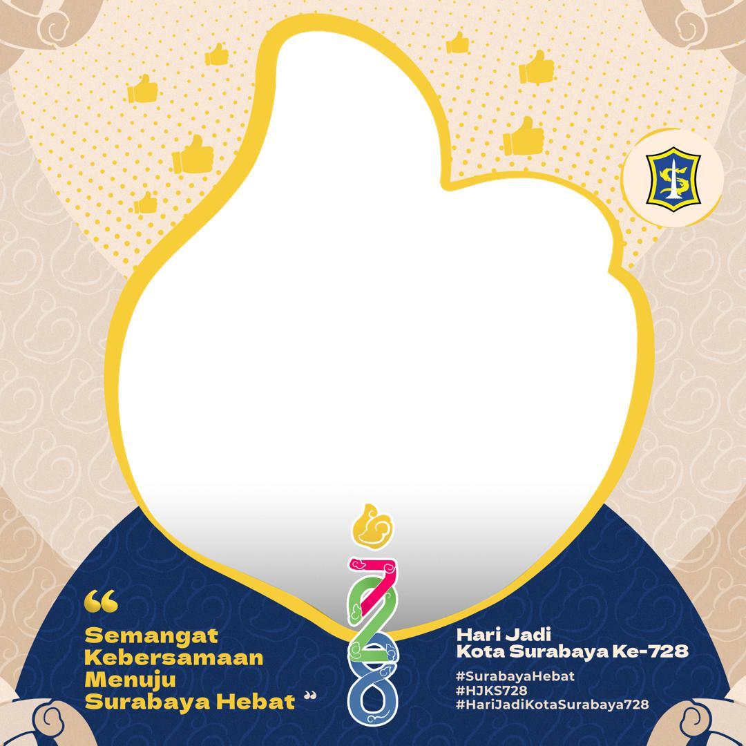 Desain Keren Bingkai Foto Twibbon HUT Kota Surabaya 2021 - Twibbonize