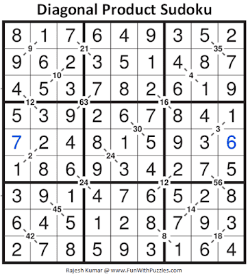 Answer of Diagonal Product Sudoku Puzzle (Fun With Sudoku #320)