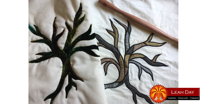art quilting trees with Leah Day