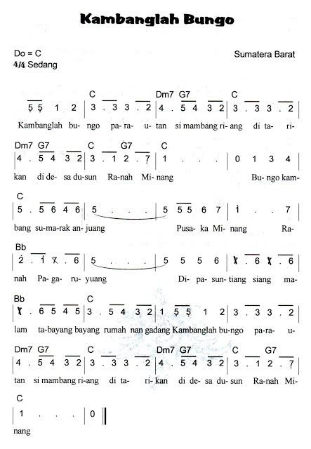 Not Angka Pianika Lagu Kambanglah Bungo (Sumatera Barat)