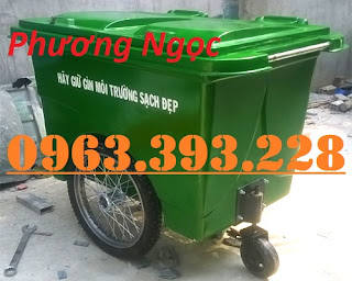 Xe gom rác nhựa 3 bánh xe 660L, xe đẩy rác công nghiệp, thùng rác 660L Pts_thung-rac-banh-hoi-240l-6056