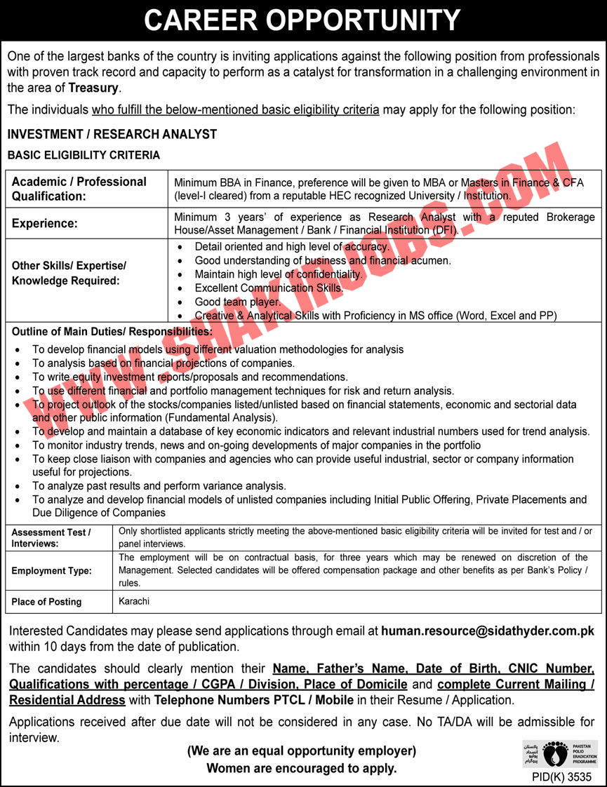 Pakistan Polio Eradication Programe Job Jobs April 2020