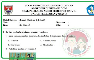 Soal UAS / PAS Kelas 4 Tema 3 Kurikulum 2013 Revisi 2018