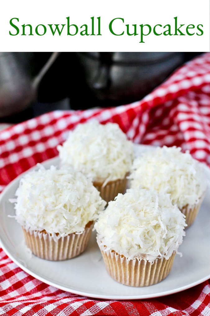 Coconut Snowball Cupcakes with cream cheese frosting