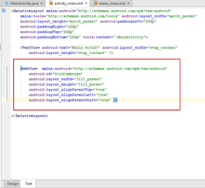 xml code for creating webview