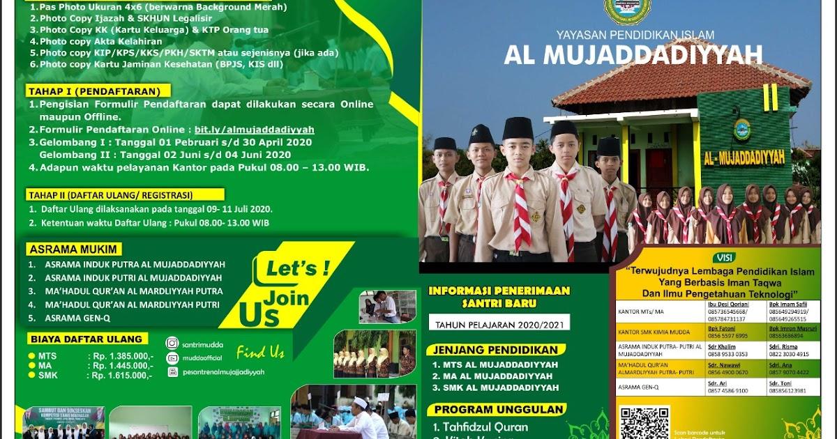 Pesantren al mujaddadiyyah: INFORMASI PPDB TP. 2020/ 2021