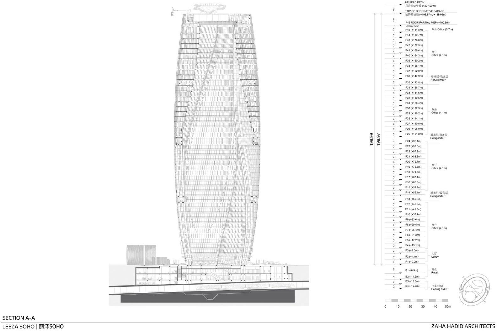 Mặt đứng tháp Leeza Soho Tower