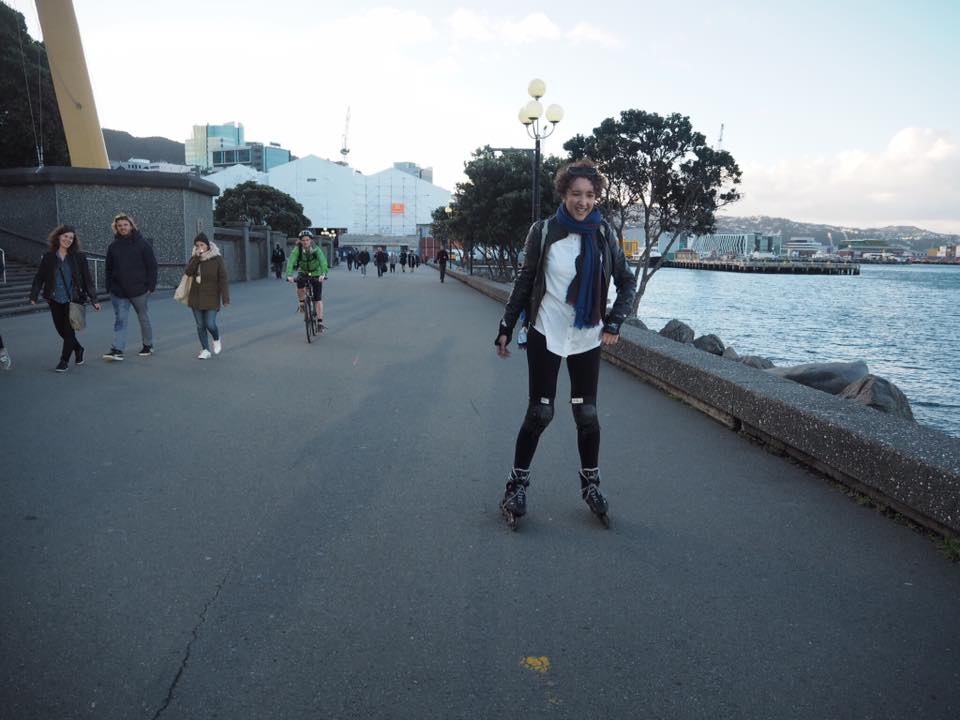 Rollerblading on Wellington Harbour, New Zealand
