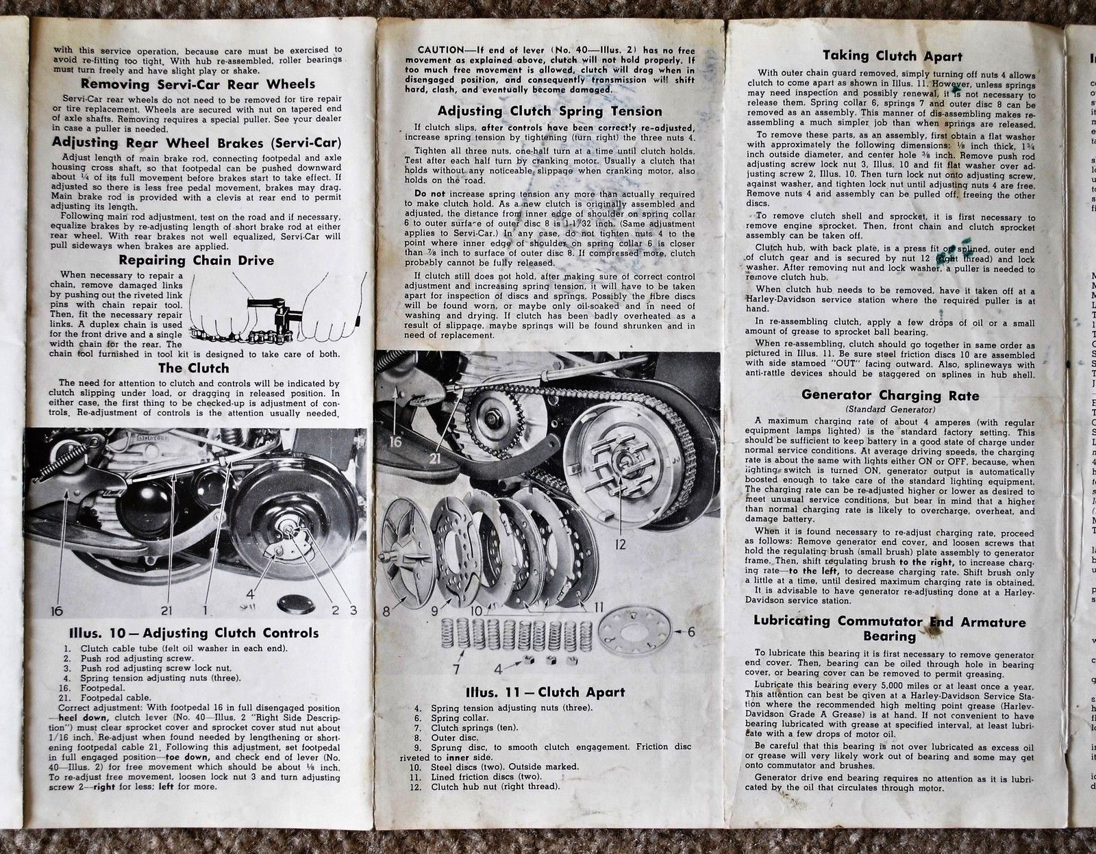 I have managed to purchase an original Harley-Davidson user's manual for a  45. This was a great find - these user manuals are scarce! Here are some  photo's