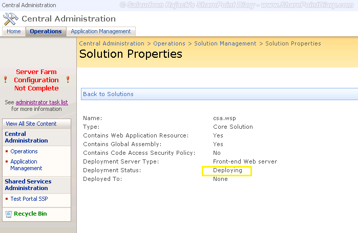 "SharePoint WSP Solution Deployment Stuck at ""Deploying"""