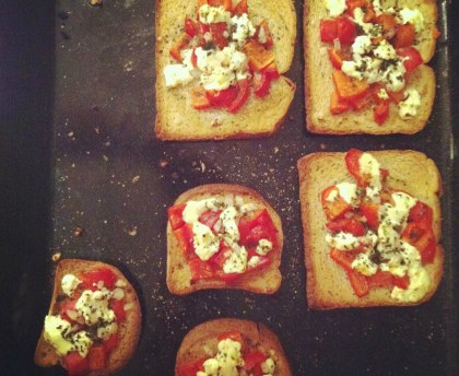 Small summer sandwiches with pepper and goat cheese
