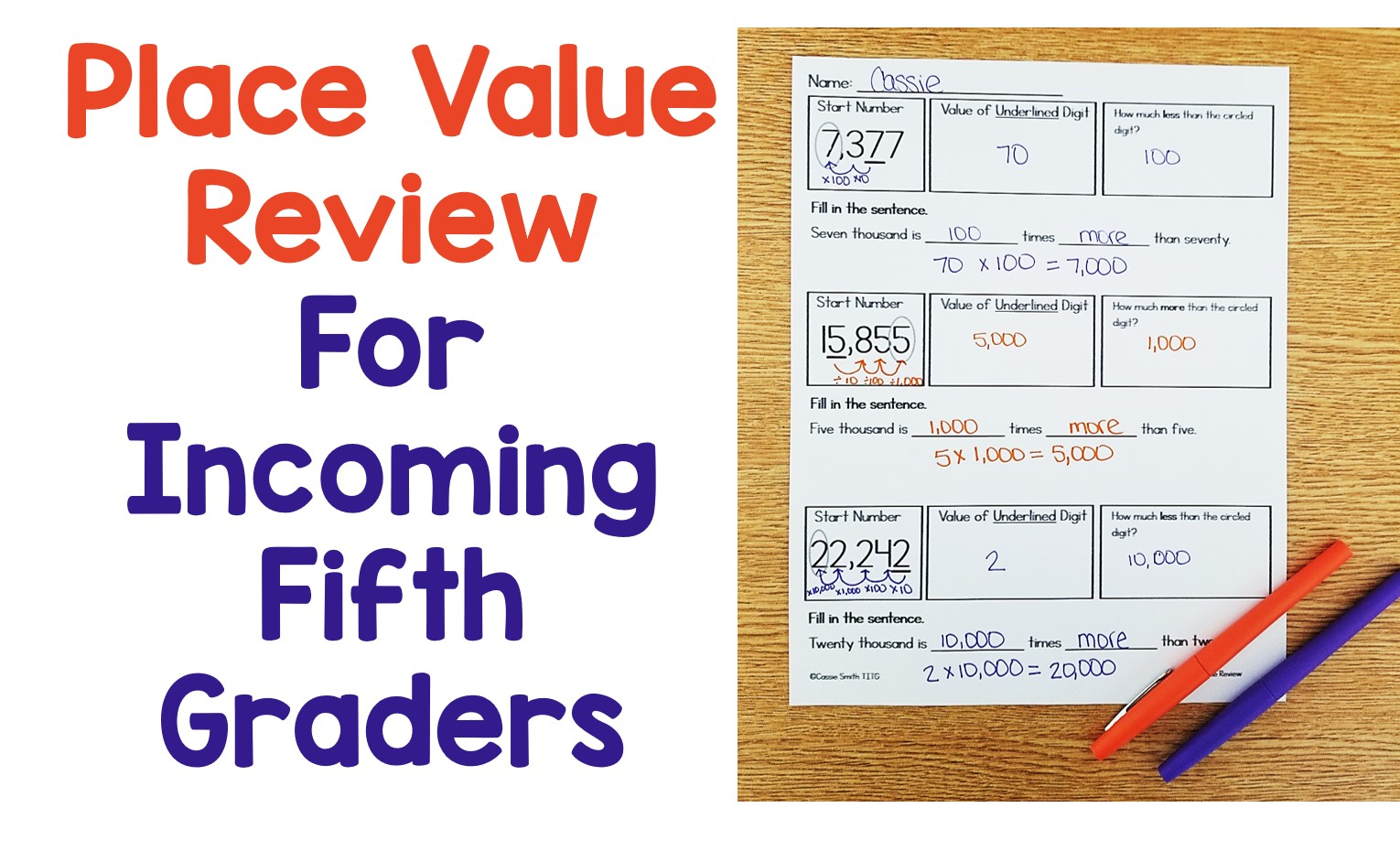 Place Value Review For Incoming Fifth Graders
