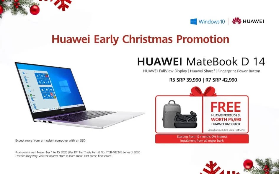 Promo Alert: Huawei MateBook D14 Now Comes with Free Huawei FreeBuds 3i and Backpack Until November 15 Only