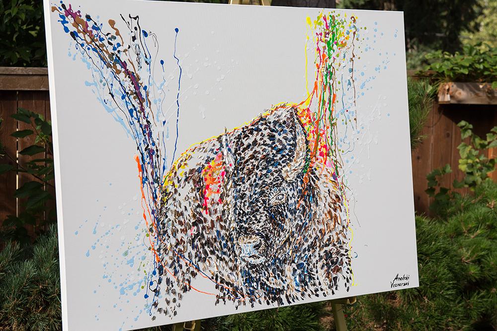 buffalo painting,buffalo unique texture, bizon painting,  buffalo voznarski, buffalo 3d artwork,  buffalo dot painting, abstract buffalo painting, buffalo on canvas, buffalo mixed media ,buffalo 3d painting, buffalo acrylic on canvas,buffalo impasto,  buffalo 3d textured,