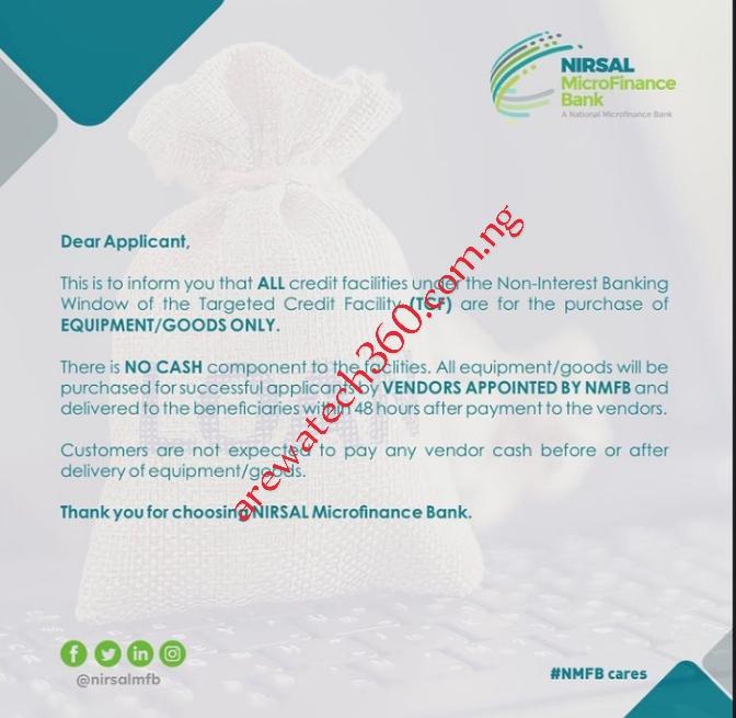 Sabon sanarwa daga bankin NIRSAL gameda Non interest loan TCF