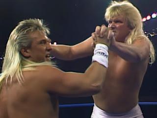 WCW Wrestlewar 1990 - Bobby Eaton overpowers Ricky Morton