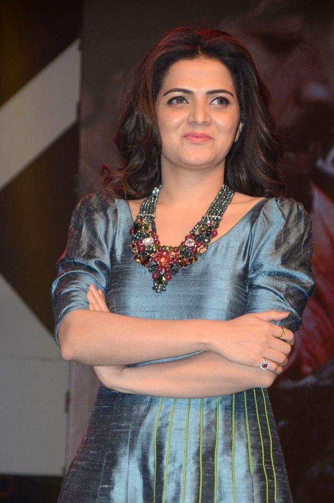 Tamil TV Anchor At Audio launch In Blue Dress Dhivyadharshini