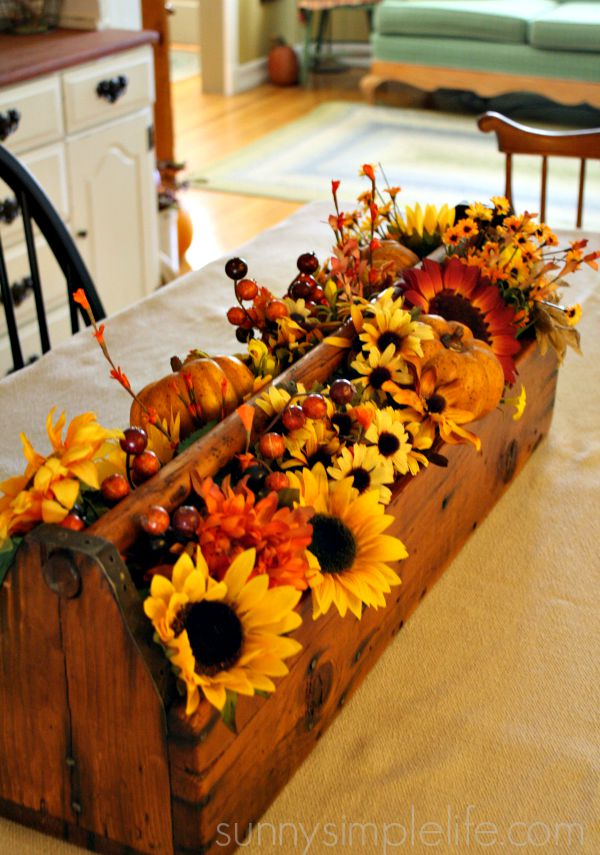 fall flowers in wood box
