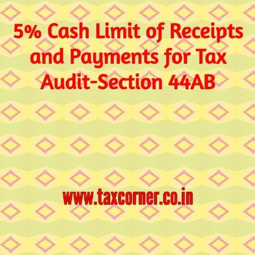 5% Cash Limit of Receipts and Payments for Tax Audit-Section 44AB