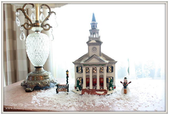 Christmas Vignette-Christmas Decorations-Christmas Village Church-From My Front Porch To Yours