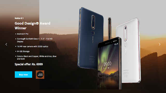 Nokia 6.1 price starts at Rs.6999/-