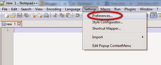 Notepad++ Preferences option
