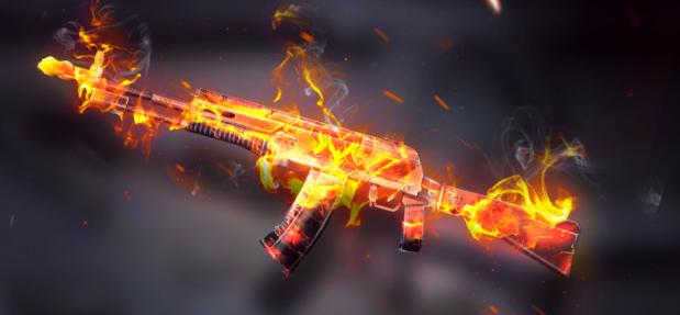 dengan nama War Catalysm memiliki desain mirip dengan shotgun api  Event Skin Senjata Free Fire War AN94 Catalysm AR Beraura Api
