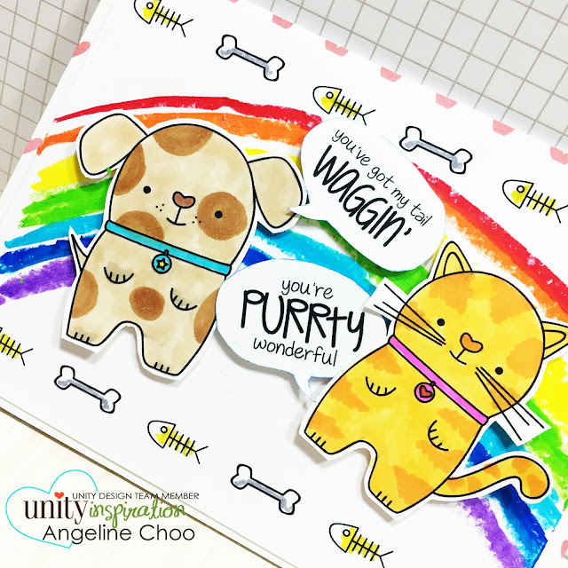 ScrappyScrappy: BIG Blog Hop + [NEW VIDEOS] with Unity Stamp - Rainbow Puppy Kitty card #scrappyscrappy #unitystampco #card #cardmaking #papercraft #rainbow #cuteanimal #puppy #kitty #oilpastel #copic