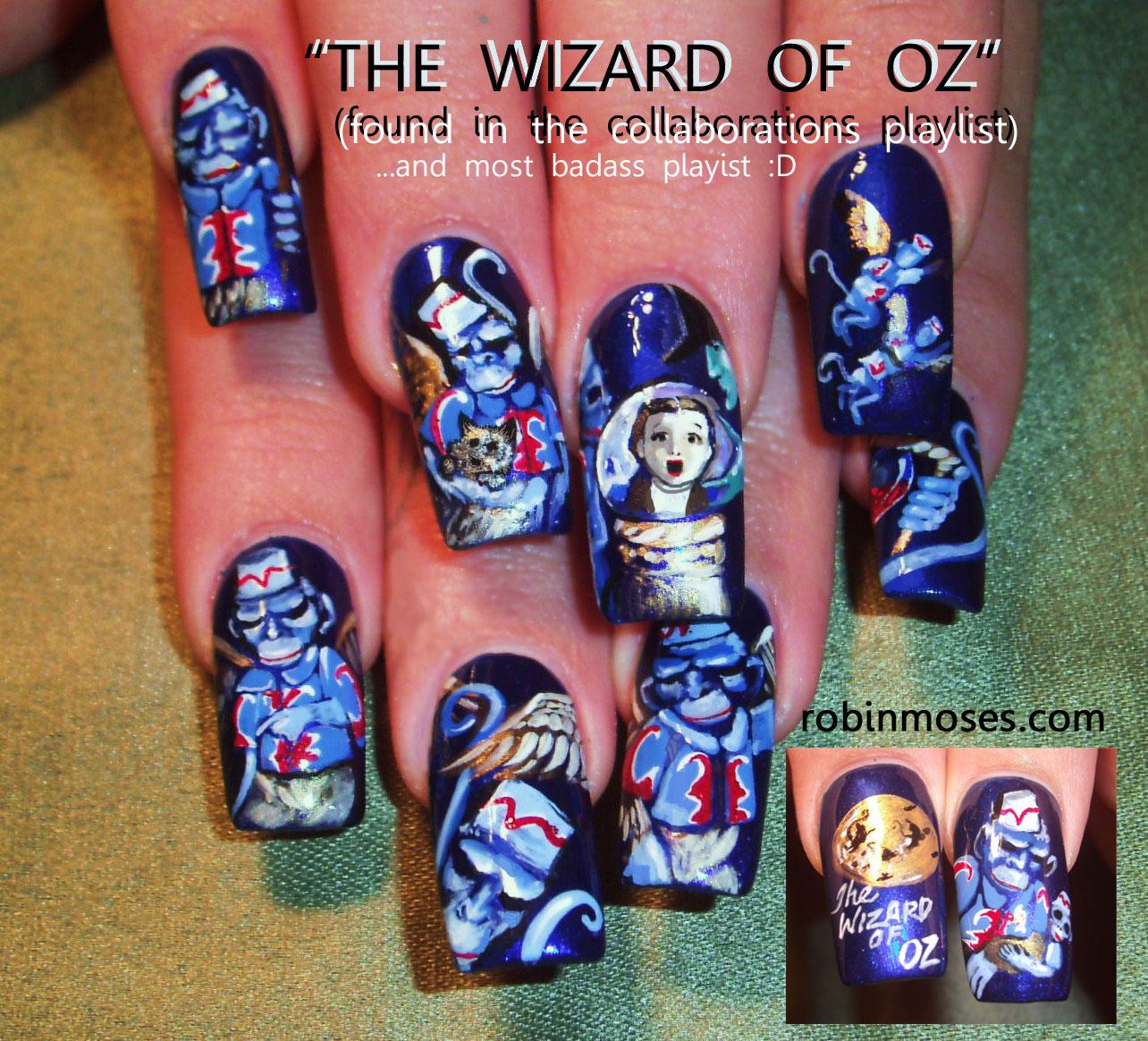 Robin Moses Nail Designs: Nail Art By Robin Moses: Wizard Of Oz, Flying Monkey Nails