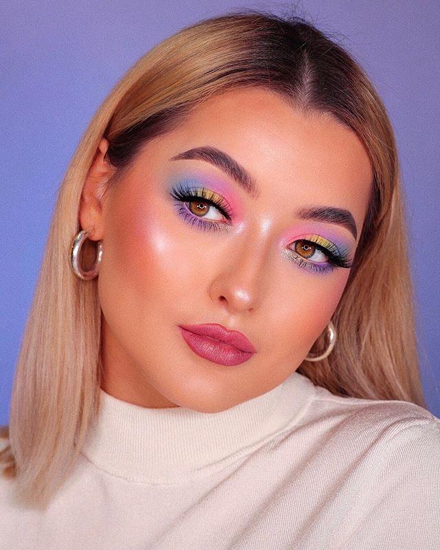 Maquiagem neon pastel colorido